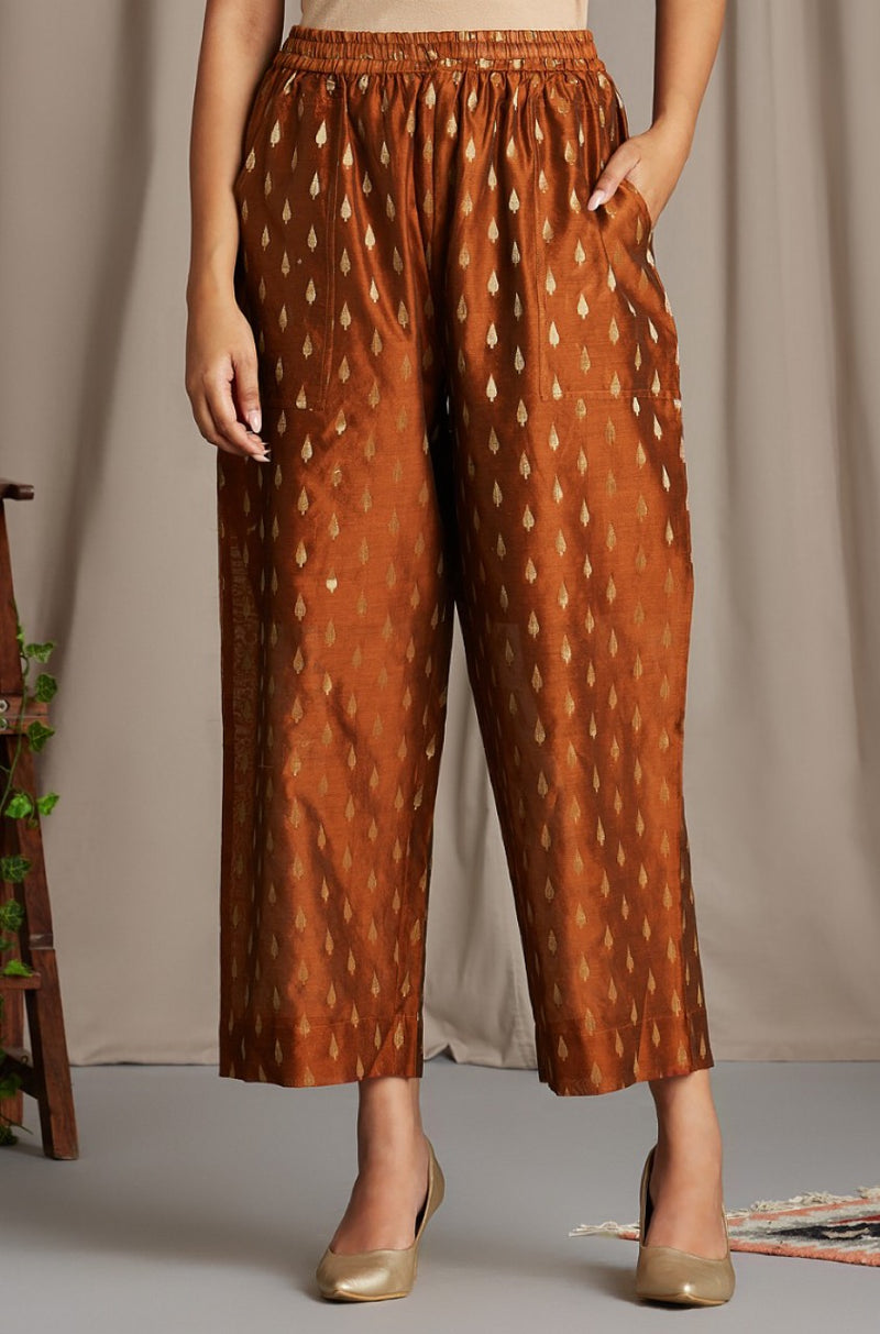 comfort fit cotton pants - earth brown & chanderi