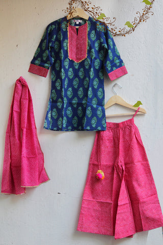kidswear - blue green kurti with pink palazzo & dupatta