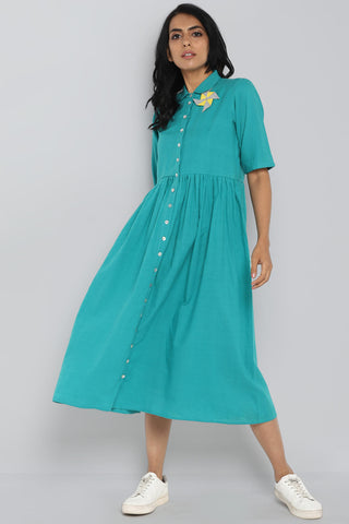 Peter Pan Collar Dress - teal & treasure