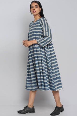 box pleated swing dress - indigo & fence