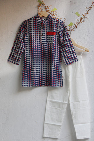 kidswear - blue red triangle kurta with pajama