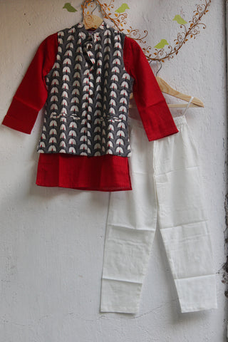 kidswear - grey jacket with red kurta & pajama