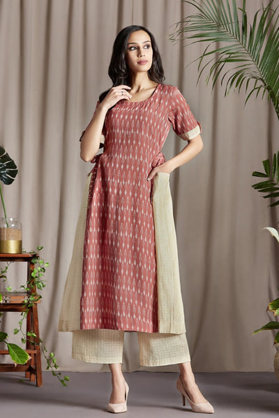 co-ord set: long tunic with side tie up & culottes - rich rouge & barely beige