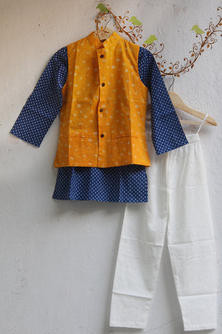 kidswear - yellow jacket with blue kurta & pajama
