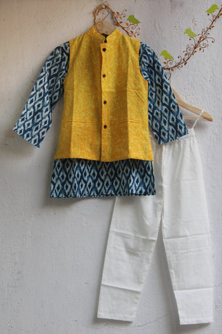 kidswear - yellow jacket with indigo ikat kurta & pajama