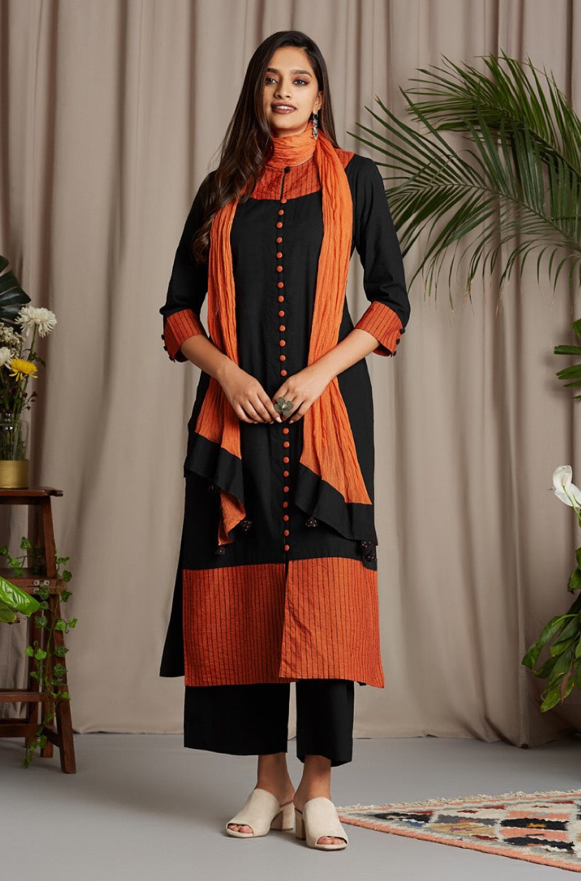button down kurta - ebony & startling orange