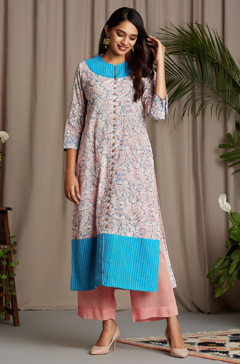 button down kurta - french rose & honeysuckle