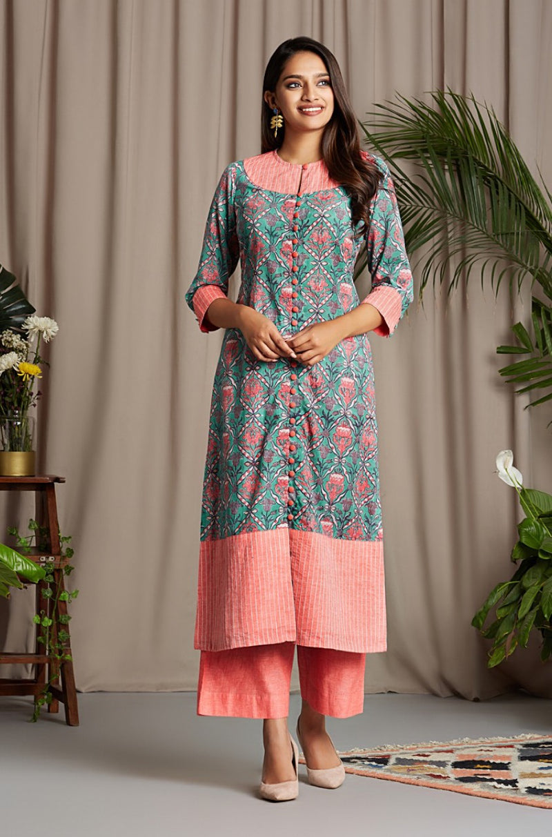button down kurta - fragrant spruce & california poppy