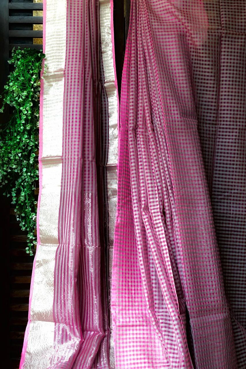 handwoven chanderi saree - magenta & silver chequered