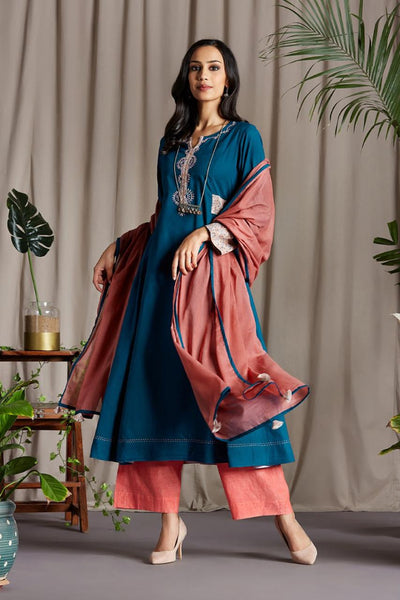 Teal Blue Anarkali with Cotton Blush Pink Printed side patti and Sleeve Cuff with Handmade Potli buttons and floral hand embroidery on Neck Patti and Pink Dupatta
