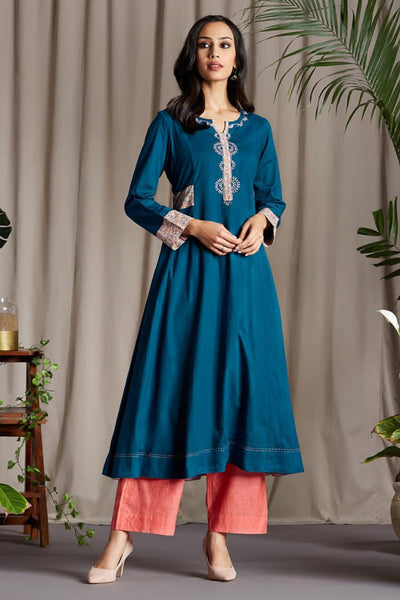 Teal Blue Anarkali with Cotton Blush Pink Printed side patti and Sleeve Cuff with Handmade Potli buttons and floral hand embroidery on Neck Patti and Blue Pink Dupatta