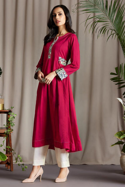 Carmine Red Anarkali with Silk Chanderi Block Printed side patti and Sleeve Cuff with Handmade Potli buttons and embroidery on Neck Patti and Green Dupatta