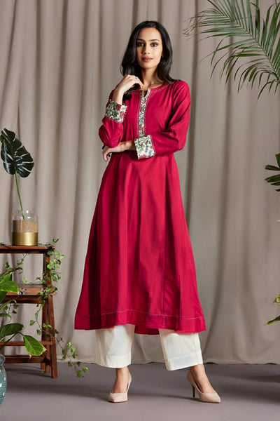Carmine Red Anarkali with Silk Chanderi Block Printed side patti and Sleeve Cuff with Handmade Potli buttons and embroidery on Neck Patti