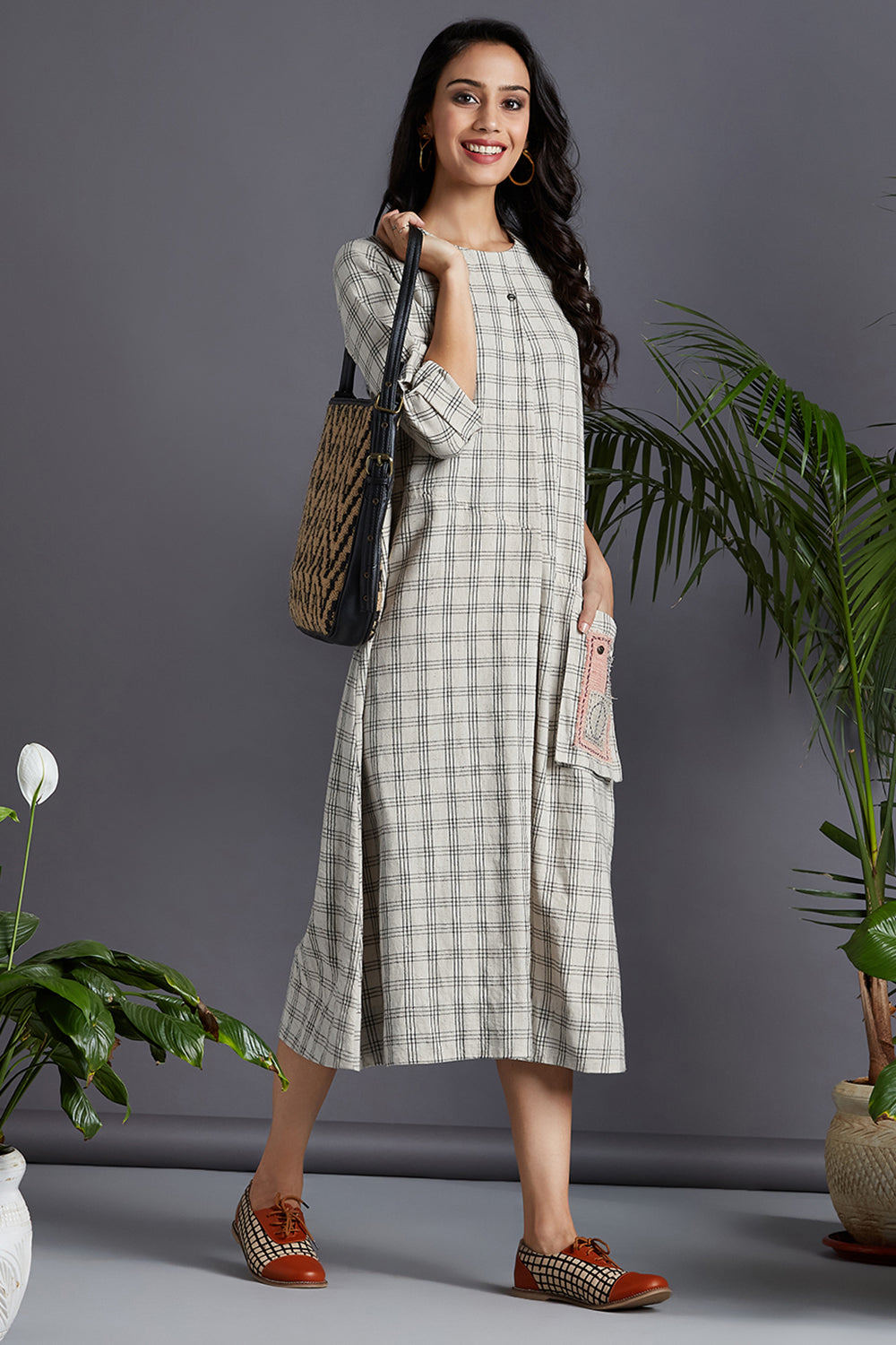 a-line dress with patch pocket - moonlight & plaid love