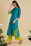 long kurta  - teal green & carribean holiday