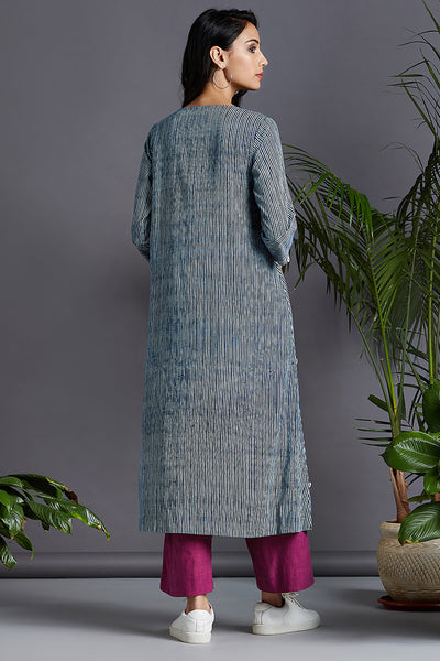 square panelled neck kurta - indigo bloom & play of stripes