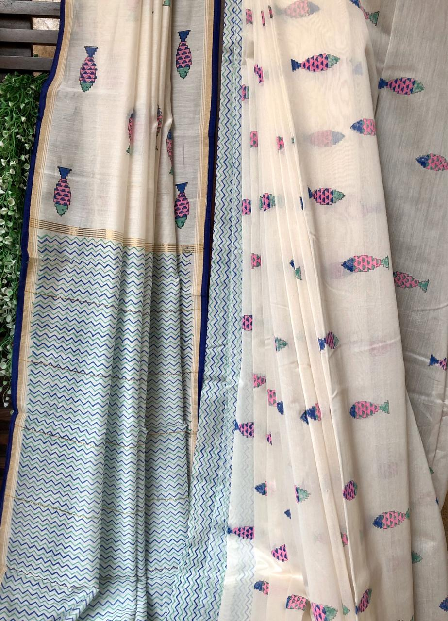 handwoven chanderi saree - silver ripples & fishes