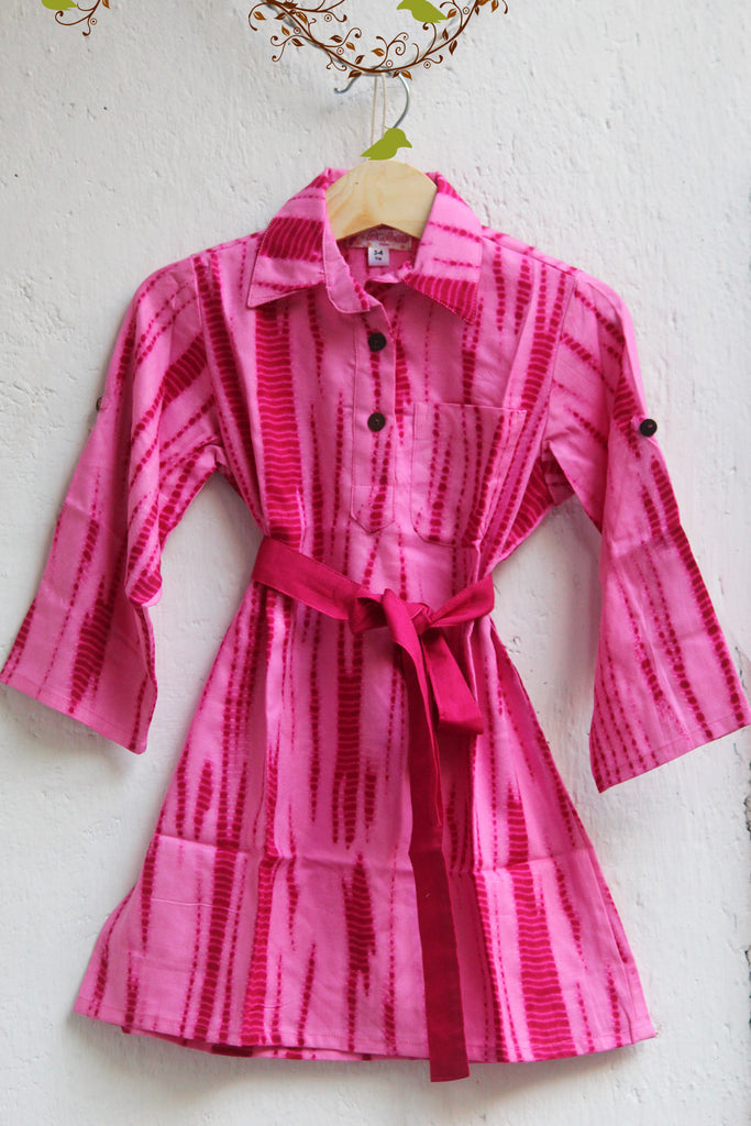 kidswear - pink shirt dress (shibori)