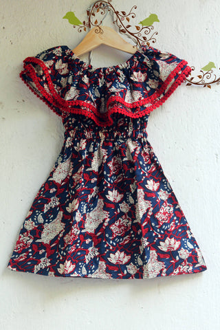 kidswear - blue red off-shoulder dress