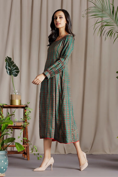 midi dress - reef green & roseate glow