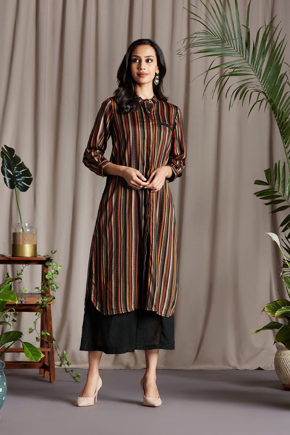 shirt dress - sable & many hued stripes