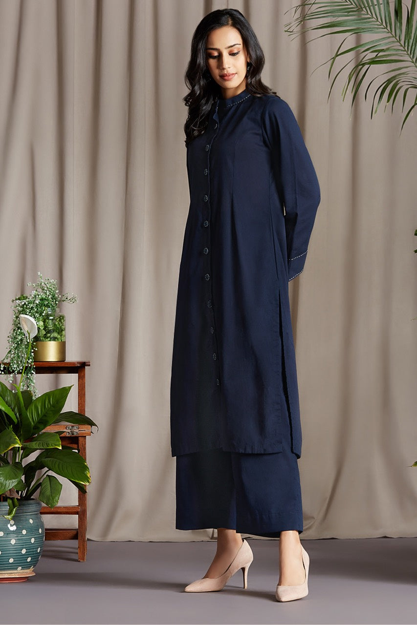 button down round collar kurta - ceylon blue & serene river