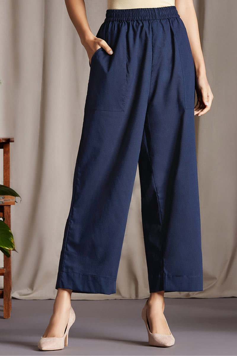 comfort fit cotton pants - indigo & ocean