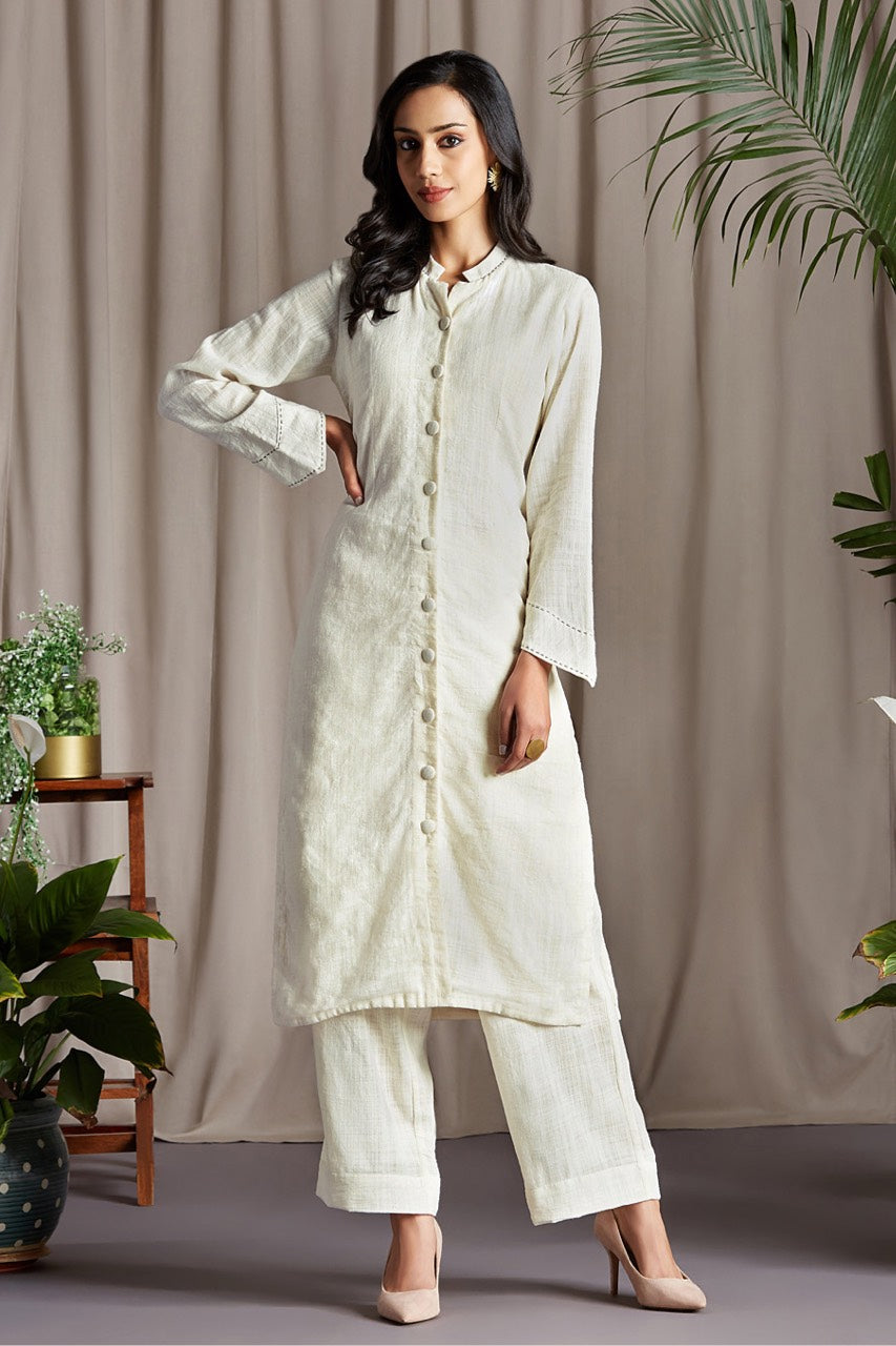 button down round collar kurta -  chantilly lace & luminescence