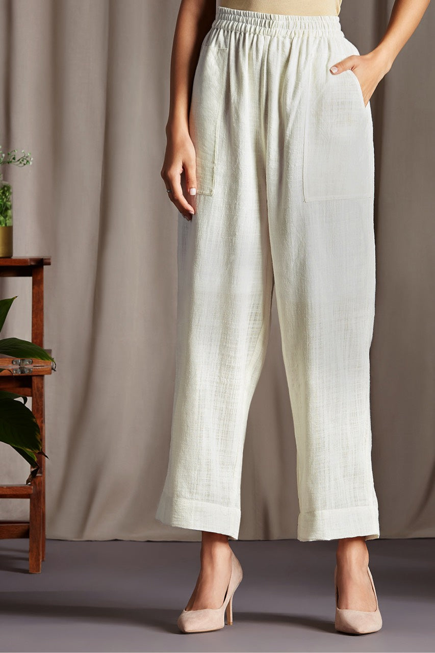 comfort fit cotton pants - pristine & white