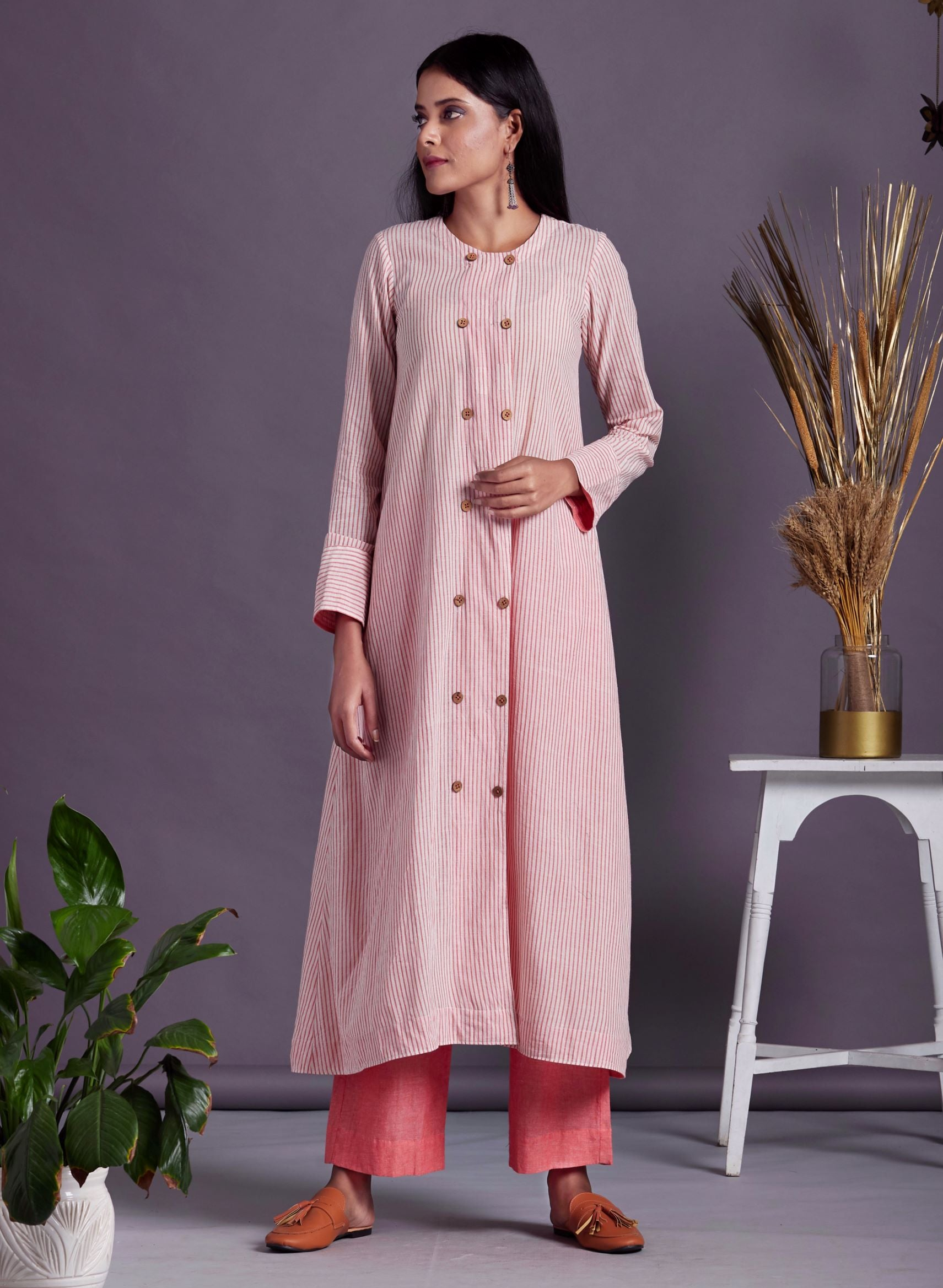 Pink white PinStripe Ling Shirt A Ling Kurta with Front Buttons