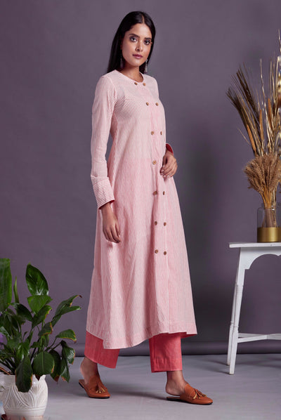 Pink white PinStripe Long Shirt A Long Kurta with Front Buttons