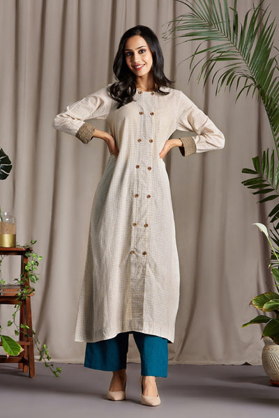 a-line kurta - ivory & salty breeze