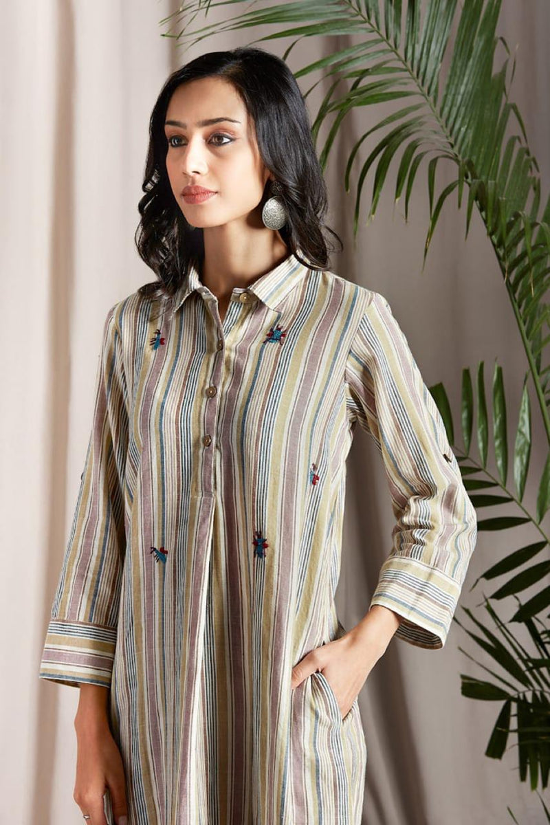 long shirt button down dress in white yellow mauve green stripe Handloom with hand embroidered bumble bee grid and wooden buttons