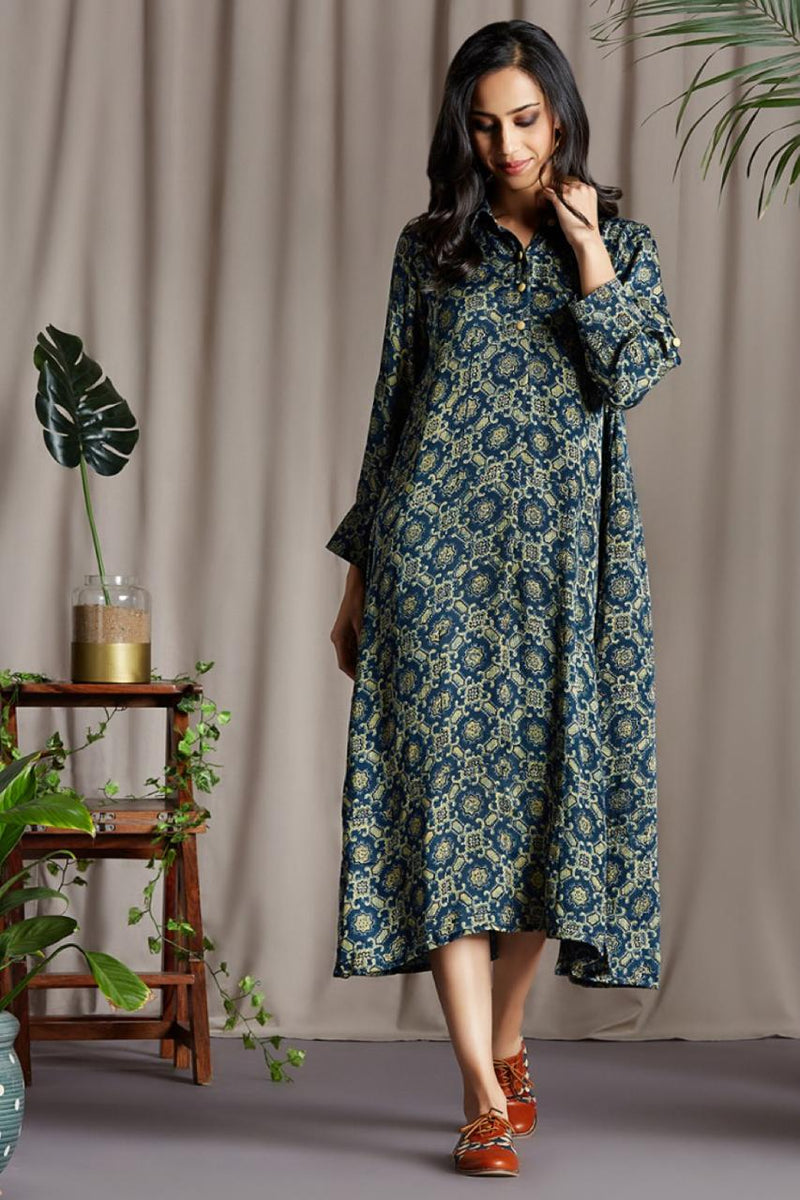 long shirt button down dress in modal silk ajrakh indigo henna with golden