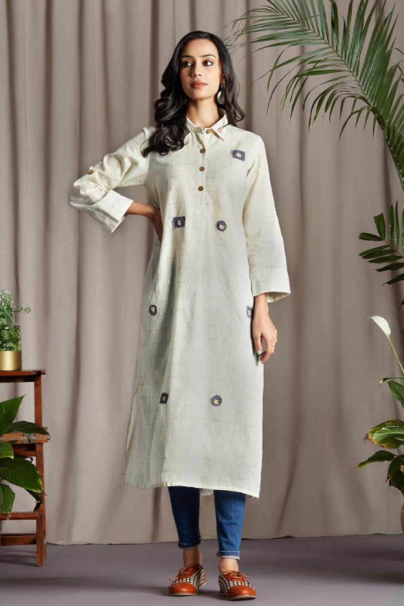 long shirt button down in white with golden grid lines and khadi hand applique embroidery wooden buttons