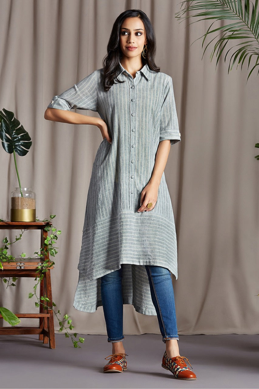 asymmetrical button down tunic - meltwater & ocean dreams