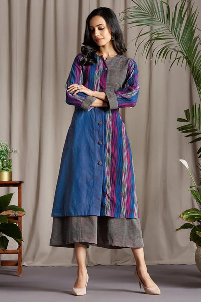 A-line Button down Tunic Kurta in Purple Grey Pink Ikat print and Purple Pink Mangalgiri and Grey Pink culottes