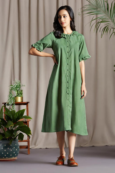 midi dress with ruffle neck - vineyard & songs of wind