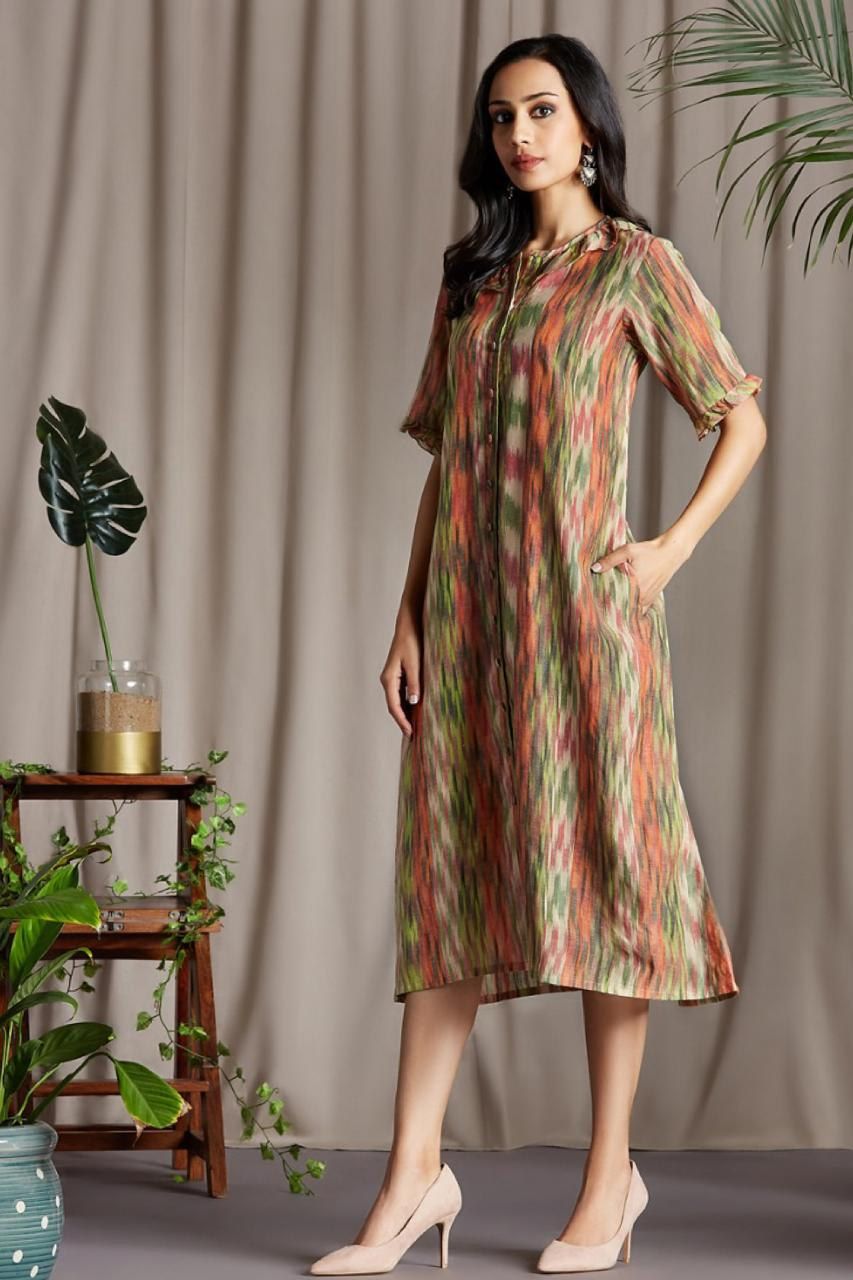 midi button  down dress with ruffle neck  and sleeve in peach green ikat print mangalgiri