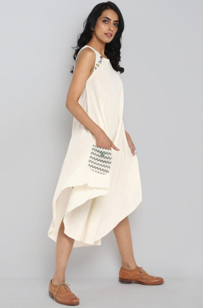 PARACHUTE DRESS - IVORY & PATCH POCKET