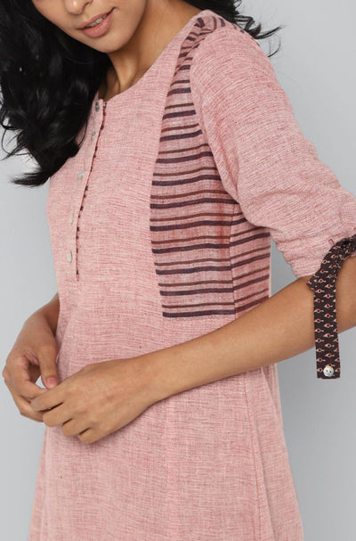 side panel kurta  - pastel pink & stripes