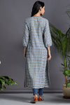 long kurta - turkish blue & steel checkers