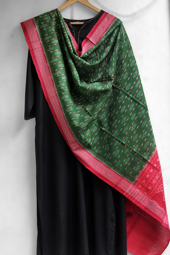 hand-woven cotton ikat dupatta - crimson red & leaf green