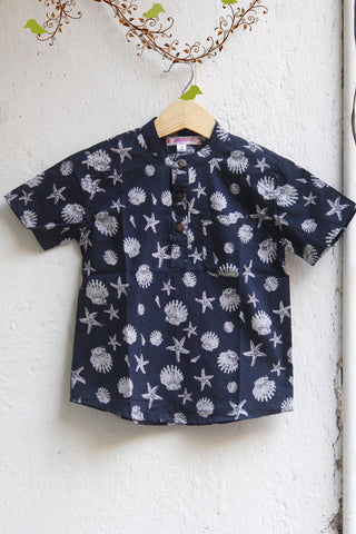 kidswear - navy blue chinese collar shirt