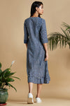 pocket dress with ruffle border - indigo & retro mood