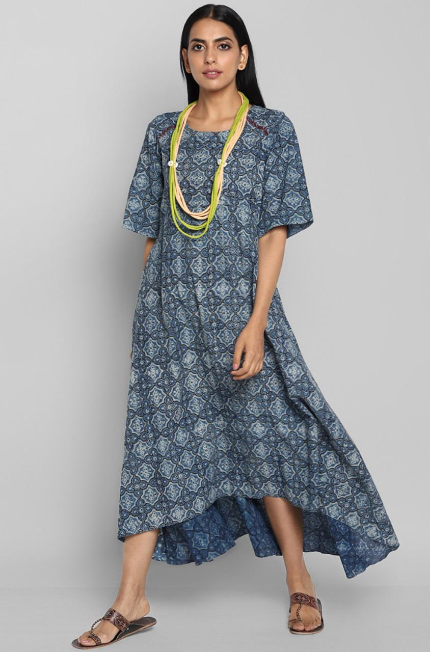 inverted hemline dress - indigo & motif