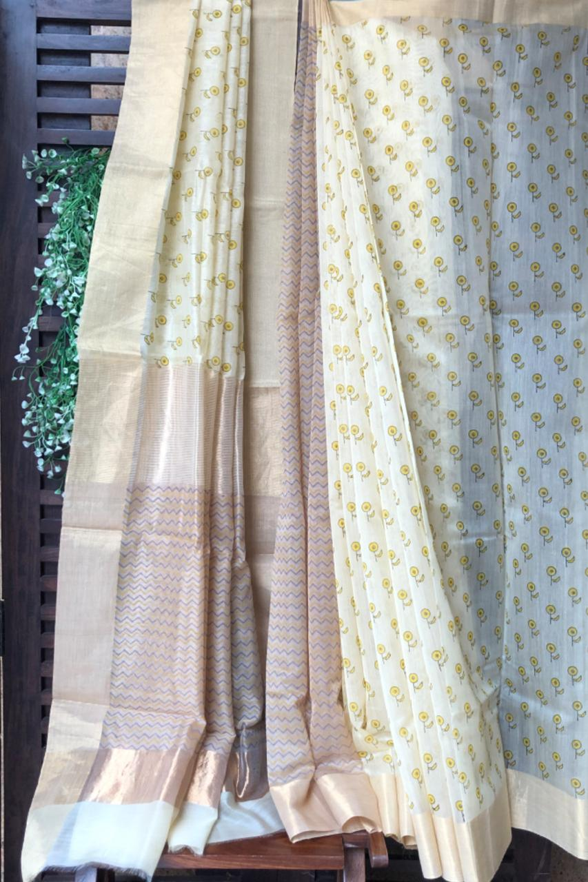 handwoven chanderi saree - sugar & pinwheel