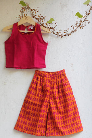 kidswear - pink orange culotte with top