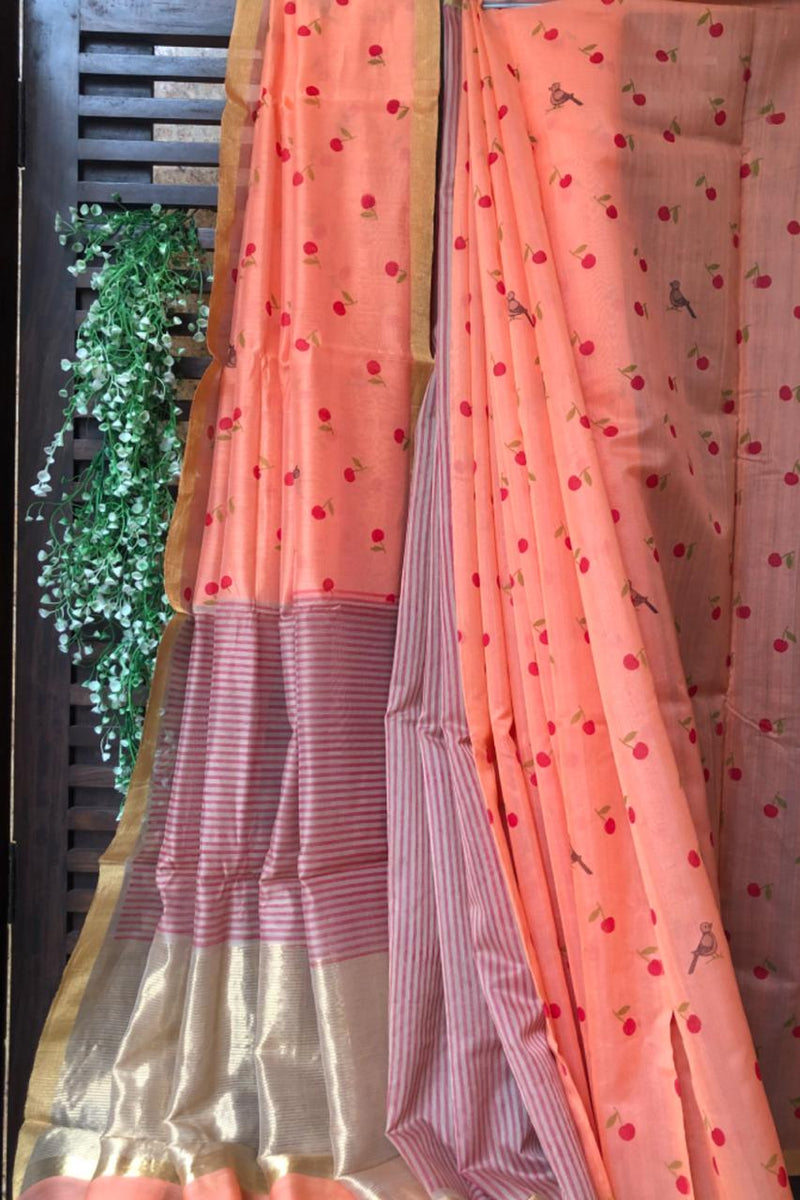 handwoven chanderi saree - peach pink & dainty sparrows