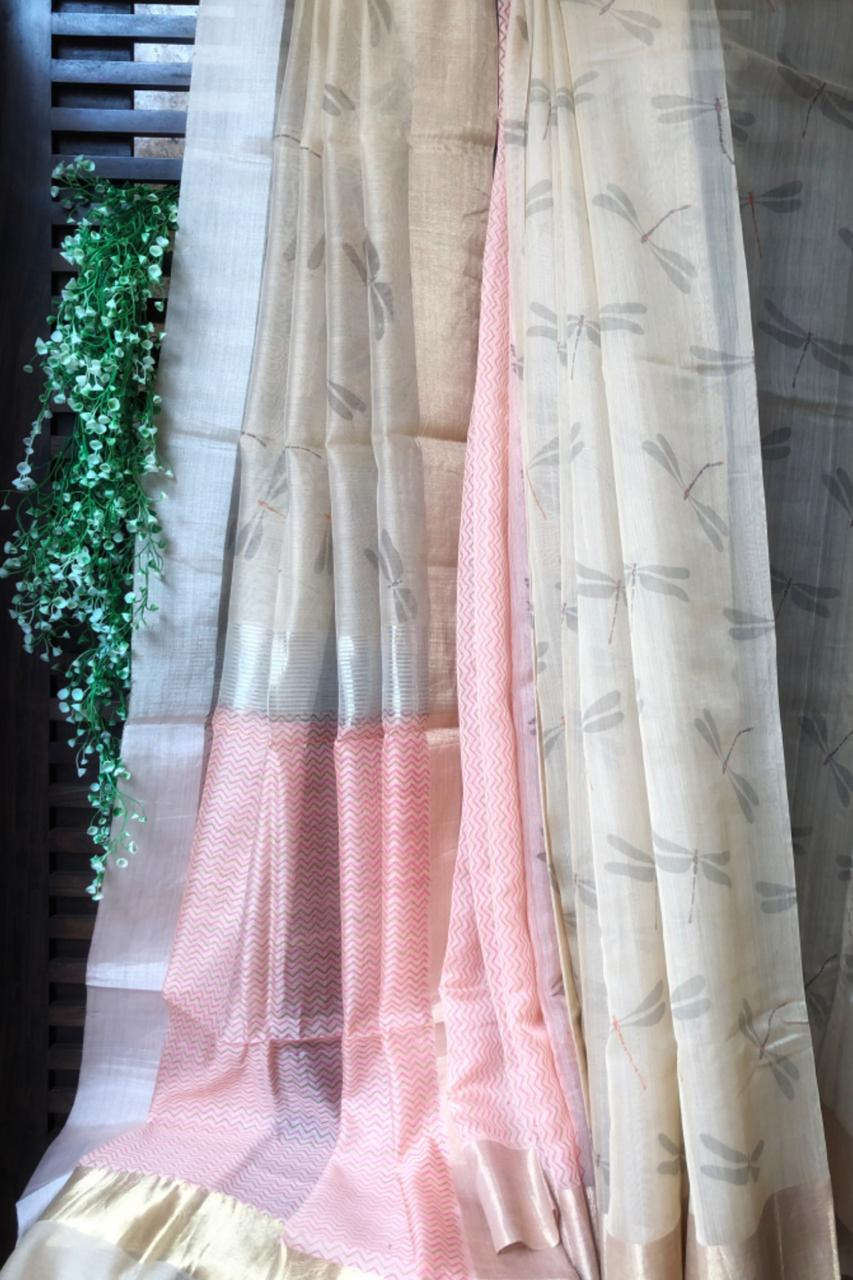 handwoven chanderi saree - sand gold & dragonflies